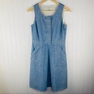J. Crew Blue Chambray Cotton Pleated Dress Size 0